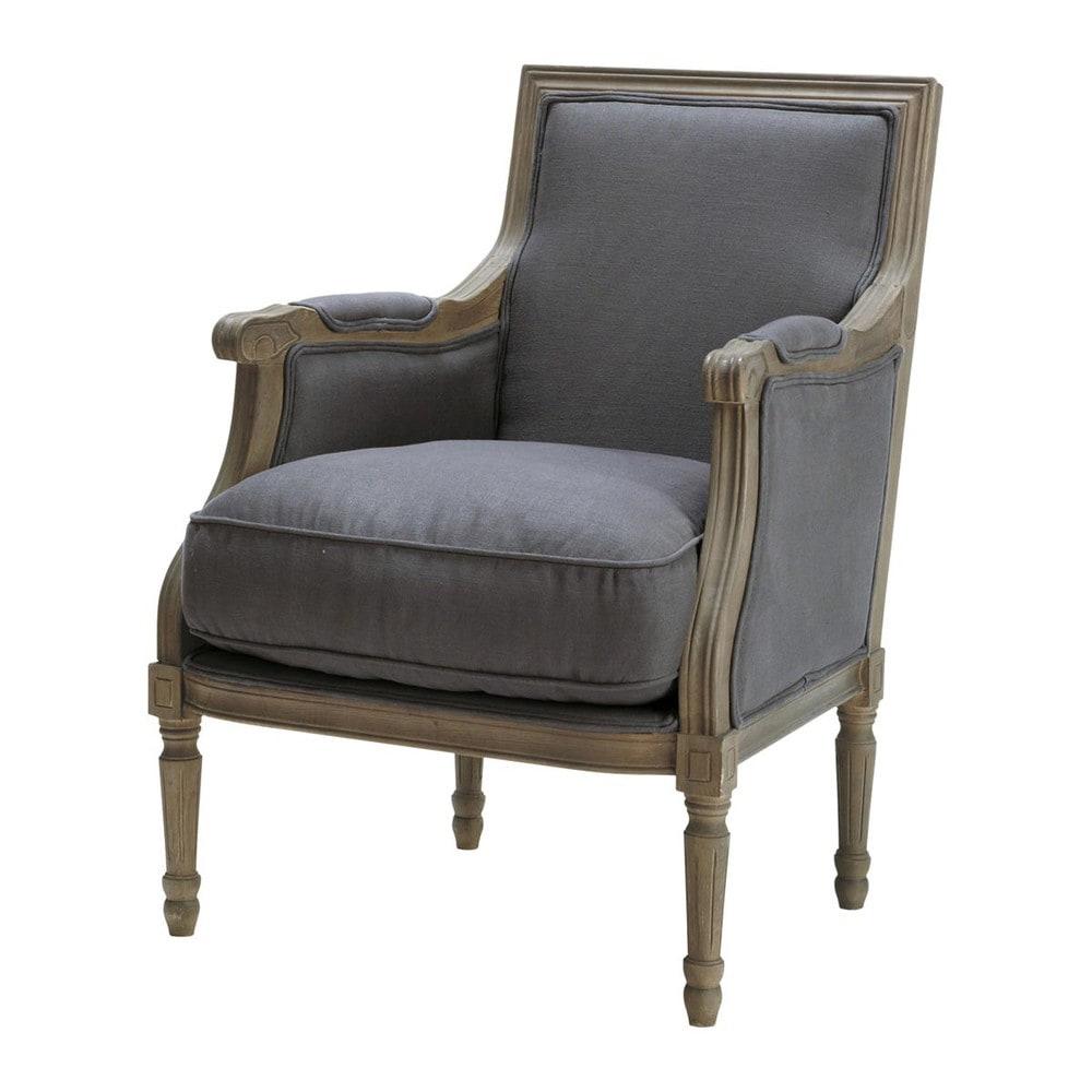 leinensessel grautaupe casanova casanova maisons du monde. Black Bedroom Furniture Sets. Home Design Ideas