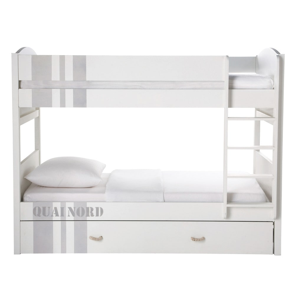letto a castello bianco in legno 90 x 190 cm quai nord maisons du monde. Black Bedroom Furniture Sets. Home Design Ideas