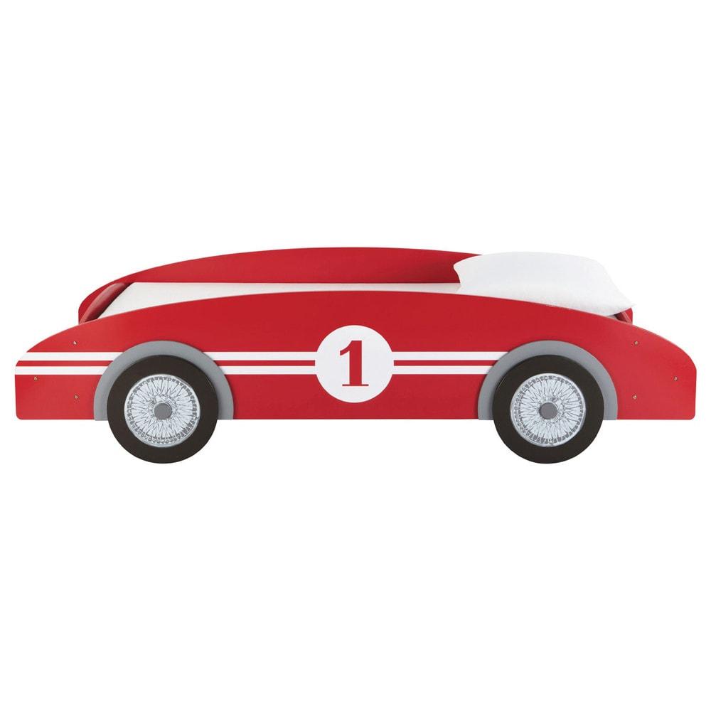 Letto a macchinina rosso in legno per bambini 90 x 190 cm - Letto macchina per bambini ...