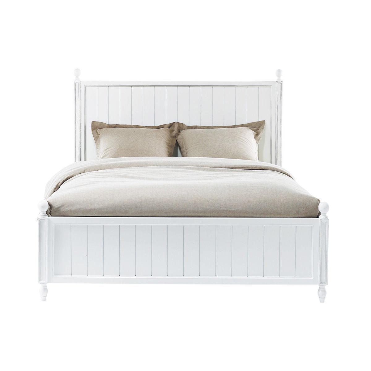 Letto bianco 140 x 190 in legno bianco Newport | Maisons du Monde