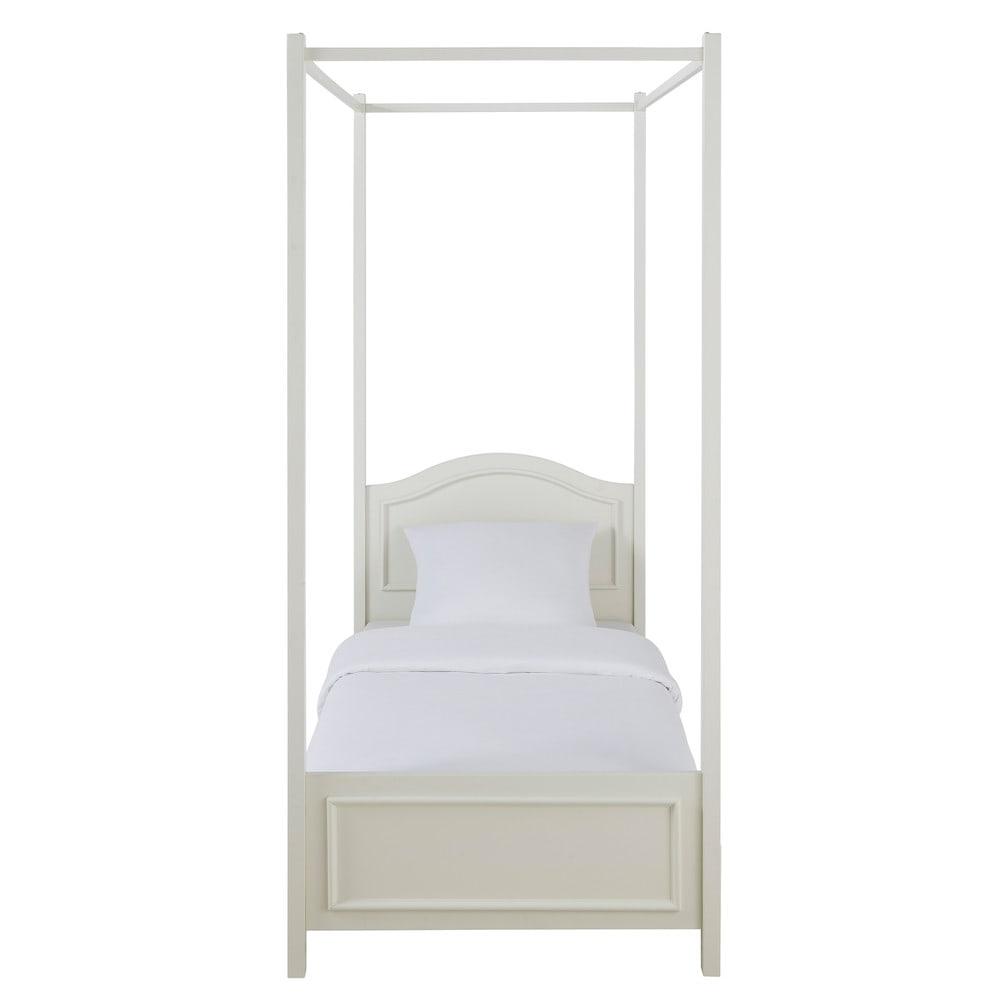 Letto bianco a baldacchino in legno 90 x 190 cm manosque maisons du monde - Letto a baldacchino in legno ...