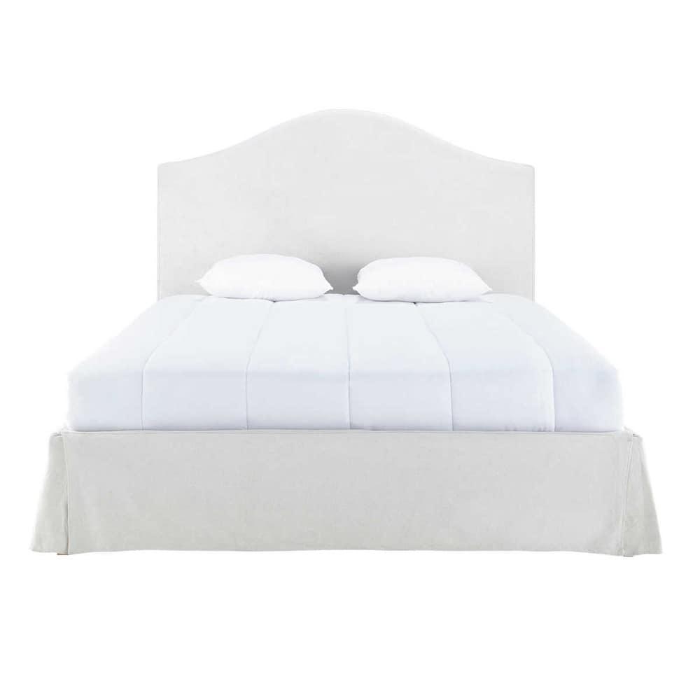 letto sfoderabile in legno e lino ecru 160 x 200 cm danceny maisons du monde. Black Bedroom Furniture Sets. Home Design Ideas