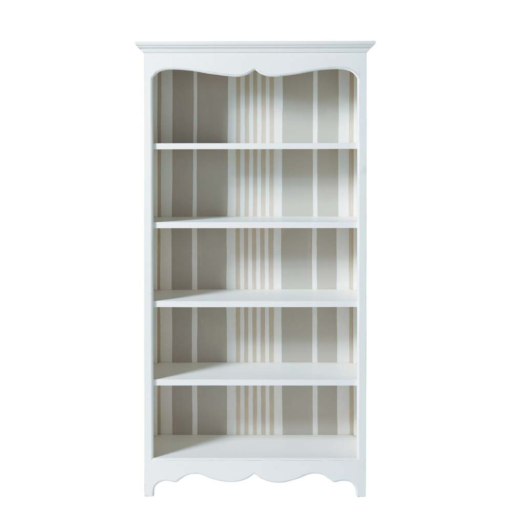 Libreria bianca in legno l 100 cm justine maisons du monde for Solde maison du monde