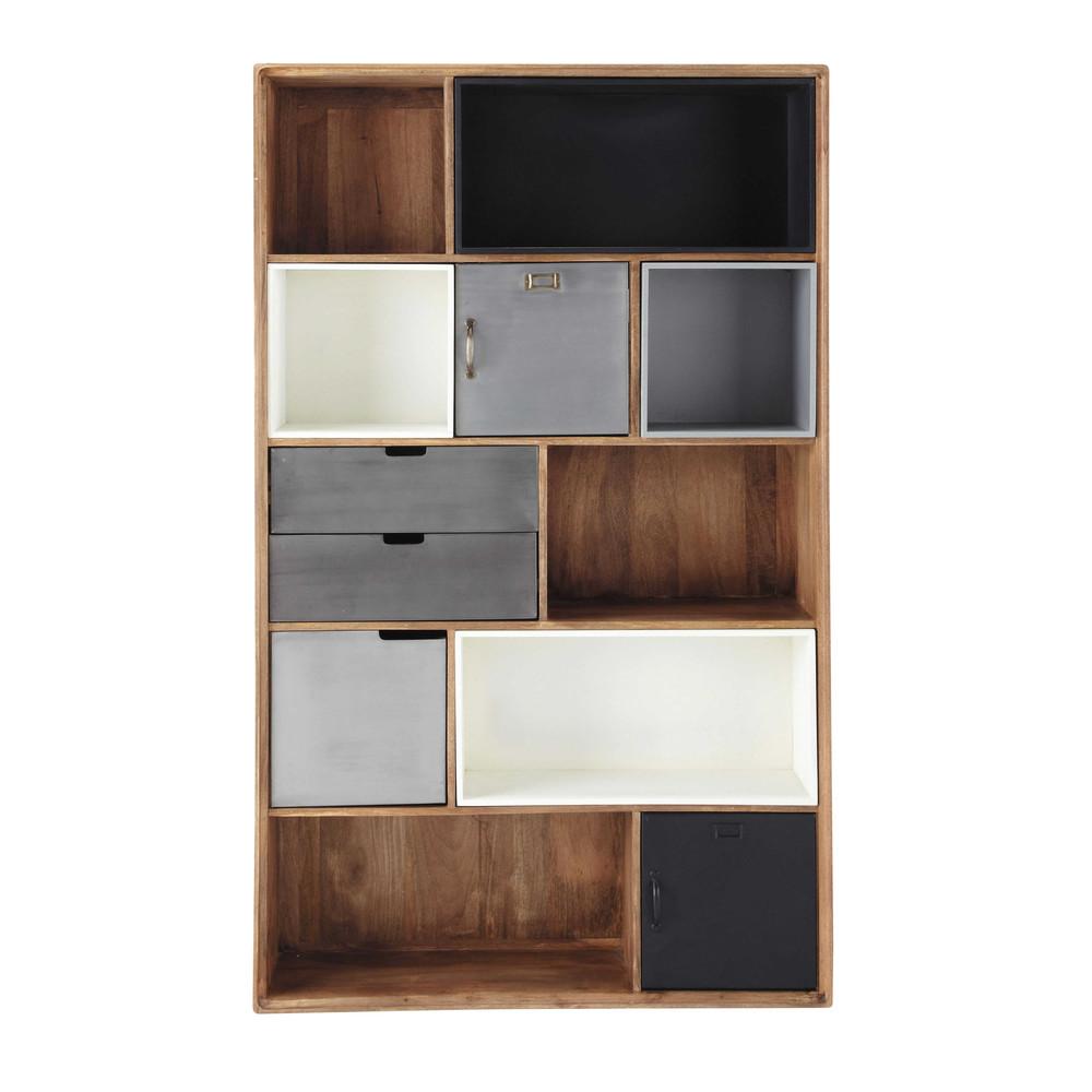 Libreria stile industriale in massello di mango l 110 cm for Piani di libreria stile artigiano
