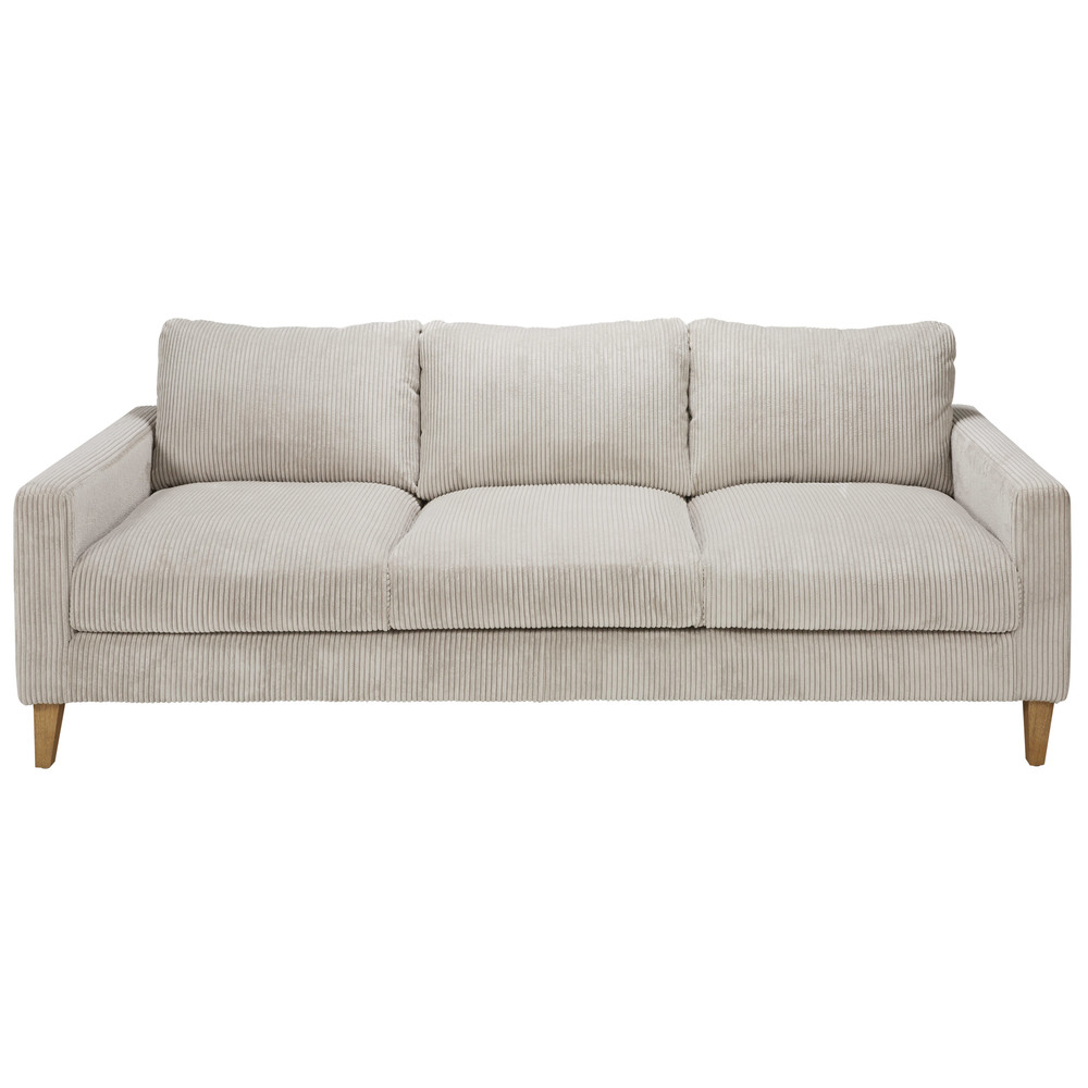 light grey corduroy 4 seater sofa holden maisons du monde. Black Bedroom Furniture Sets. Home Design Ideas