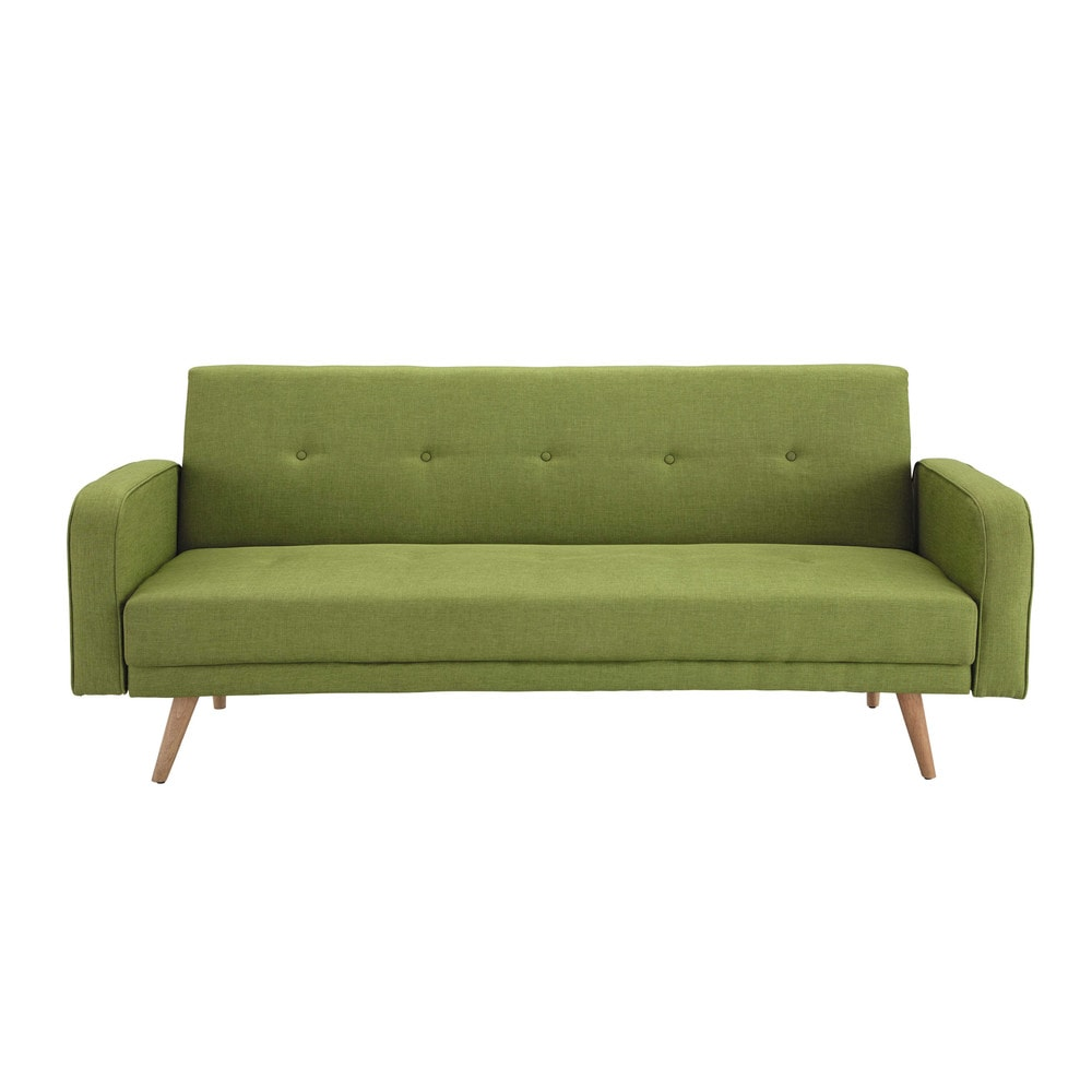 lime green 3 seater clic clac sofa bed broadway maisons du monde. Black Bedroom Furniture Sets. Home Design Ideas