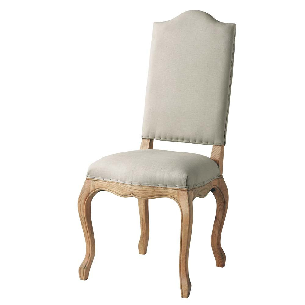Linen and solid oak chair atelier maisons du monde for Chaise de salle a manger maison du monde