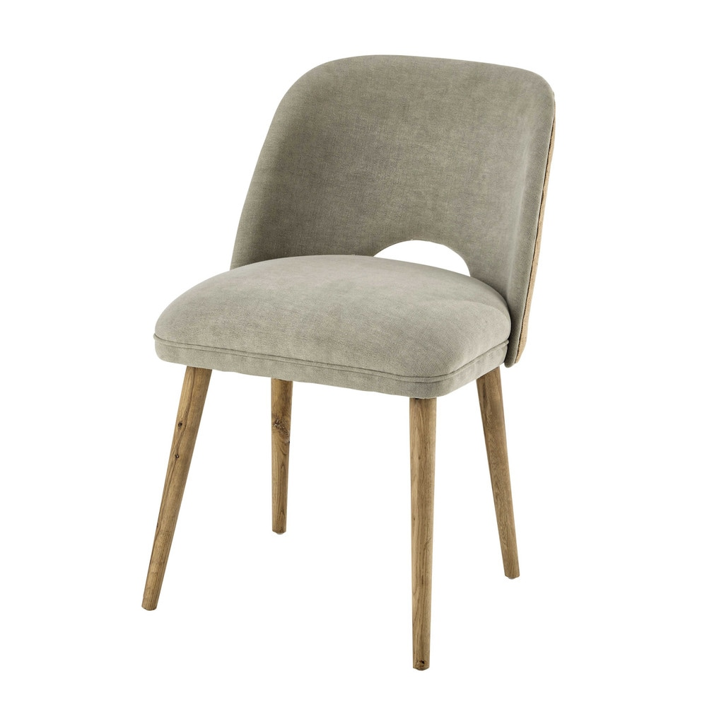 Linen and solid oak chair Meryl