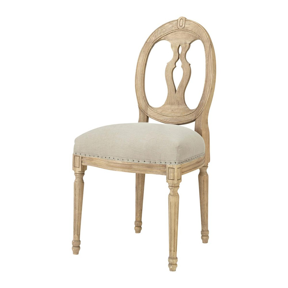 Linen and solid oak medallion chair h loise maisons du monde - Maison du monde rocking chair ...