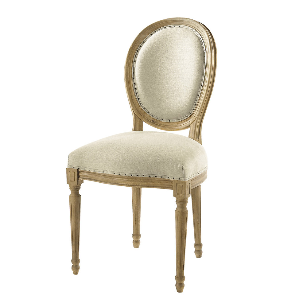 Linen and solid oak medallion chair Louis