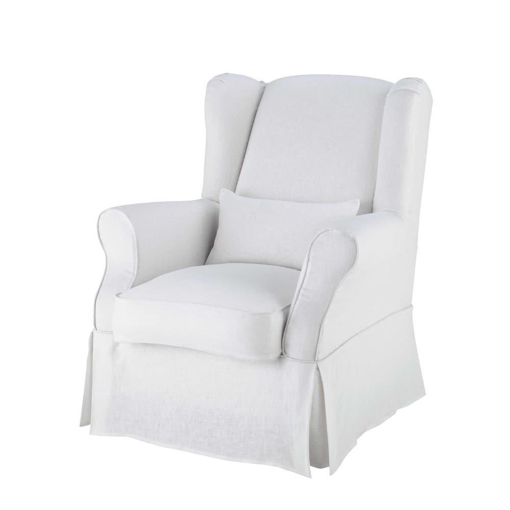 Linen armchair cover in white Cottage | Maisons du Monde
