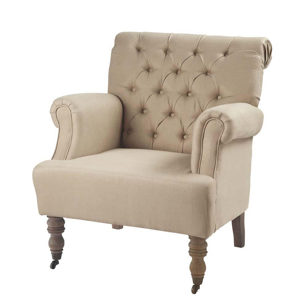 linen button armchair augustin maisons du monde. Black Bedroom Furniture Sets. Home Design Ideas