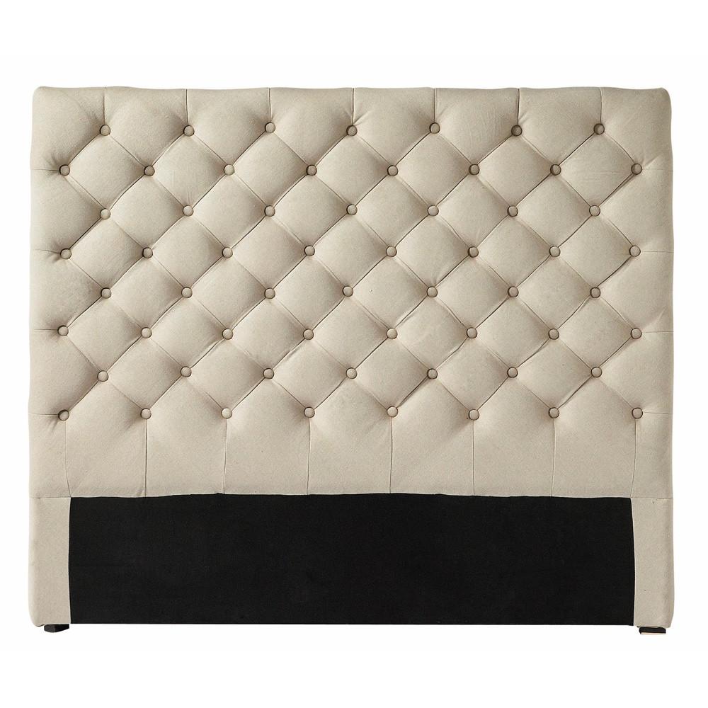 linen button headboard w 140cm chesterfield maisons du monde. Black Bedroom Furniture Sets. Home Design Ideas