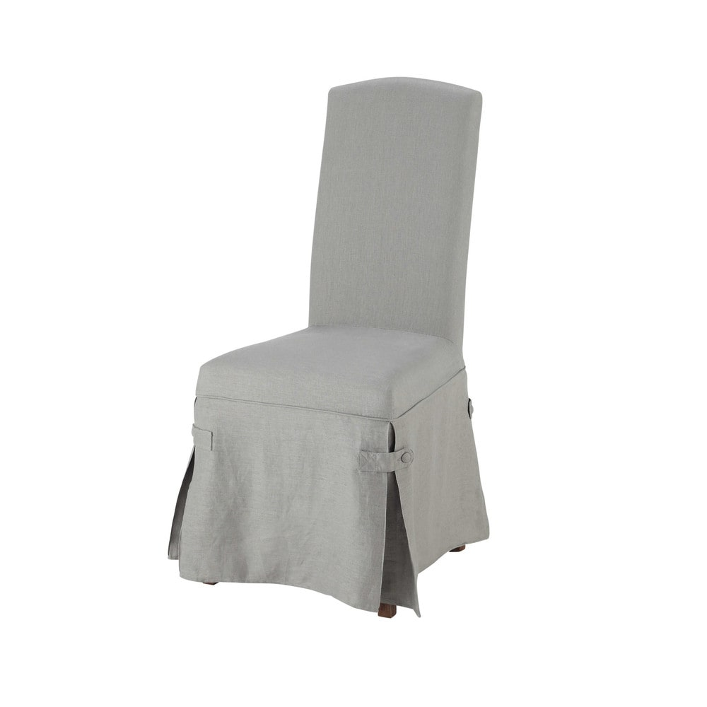 Linen long chair cover in grey alice maisons du monde for Linen furniture covers