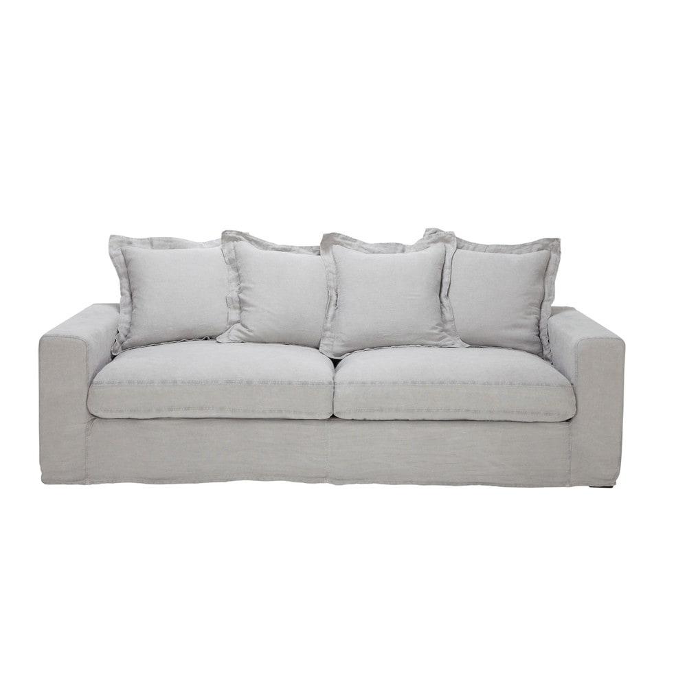 Linen Sofa Bed In Light Grey Seats 3 4 Barnabe Barnabe