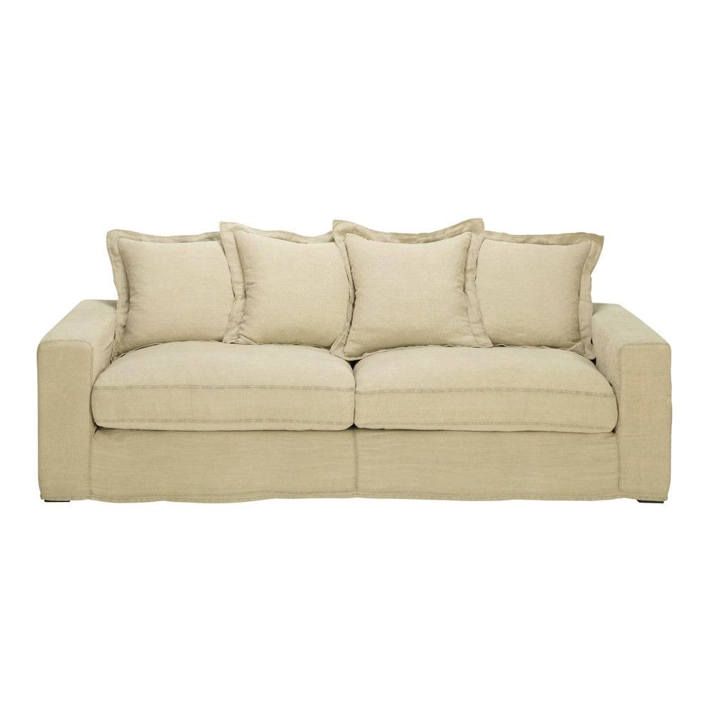 linen sofa bed seats 3 4 barnabe barnabe maisons du monde. Black Bedroom Furniture Sets. Home Design Ideas