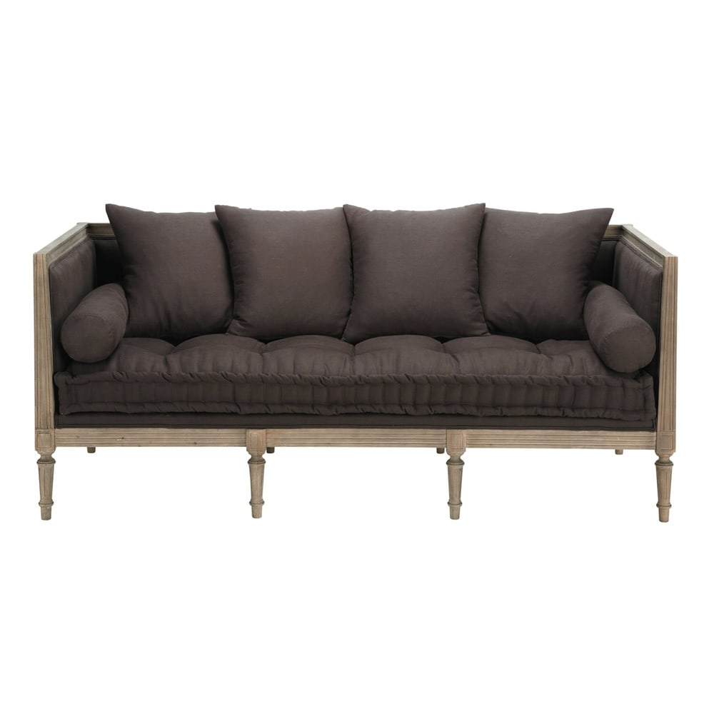 Linen sofa daybed in taupe seats 3 villandry villandry - Daybed maison du monde ...