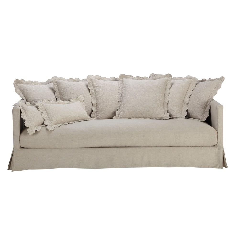linen sofa seats 3 4 boutis boutis maisons du monde. Black Bedroom Furniture Sets. Home Design Ideas