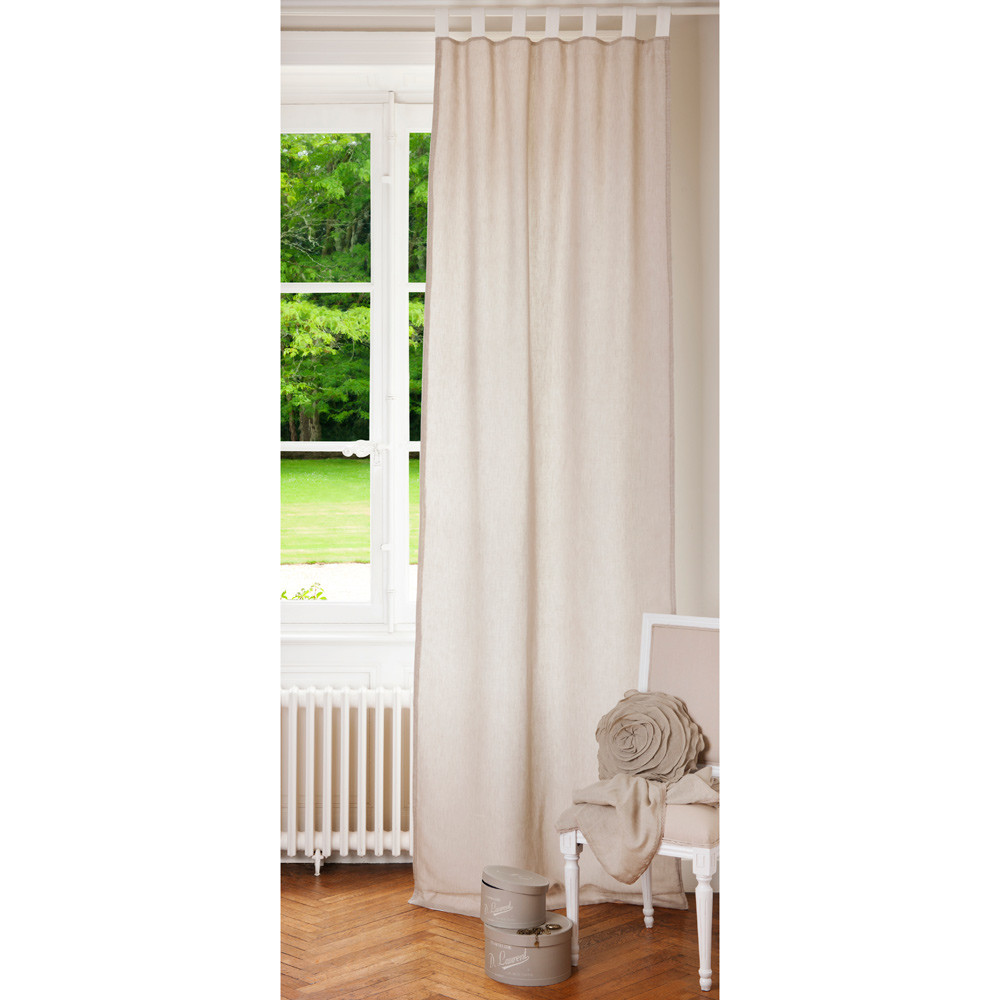 Double Sided Drapes : Linen tab top double sided curtain in ecru and white