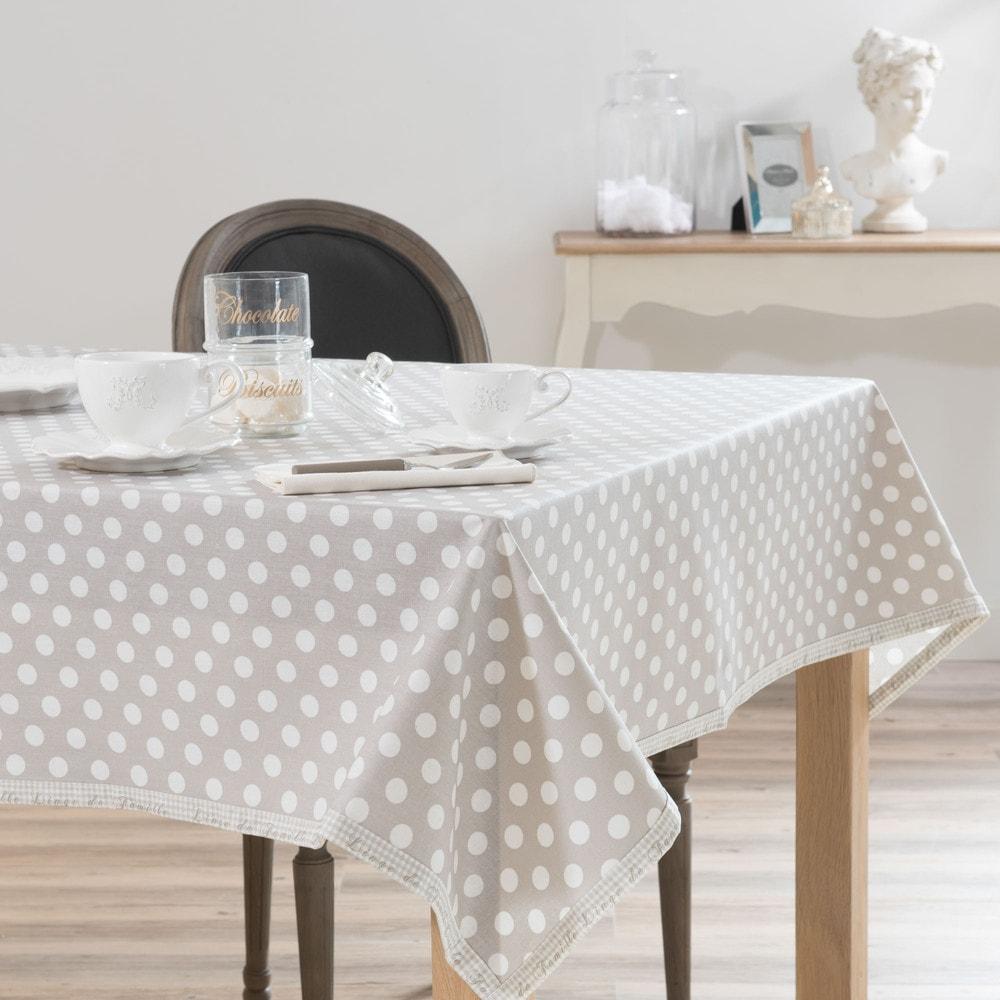 linen tablecloth cover in beige polka dot 140 x 250cm maisons du monde. Black Bedroom Furniture Sets. Home Design Ideas