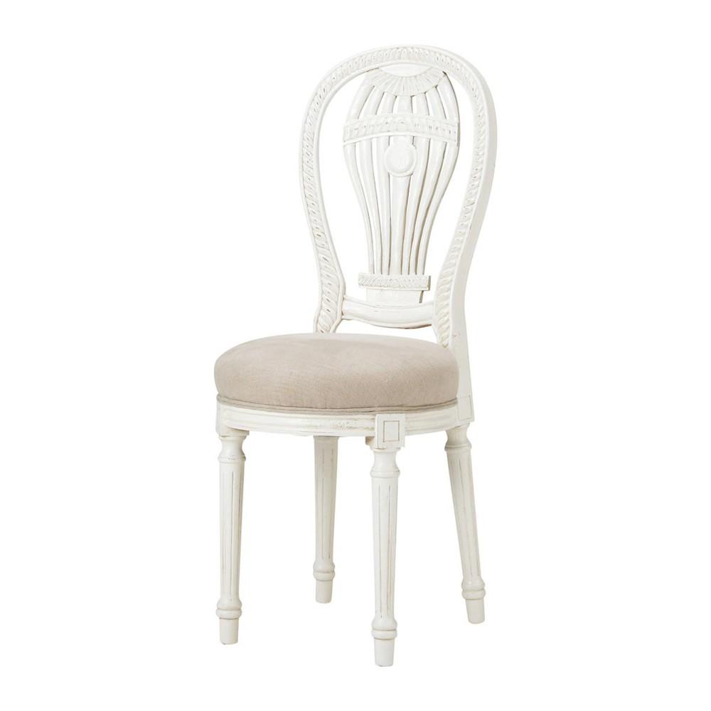 Linnen en massief houten stoel anais maisons du monde - Linnen stoel ...