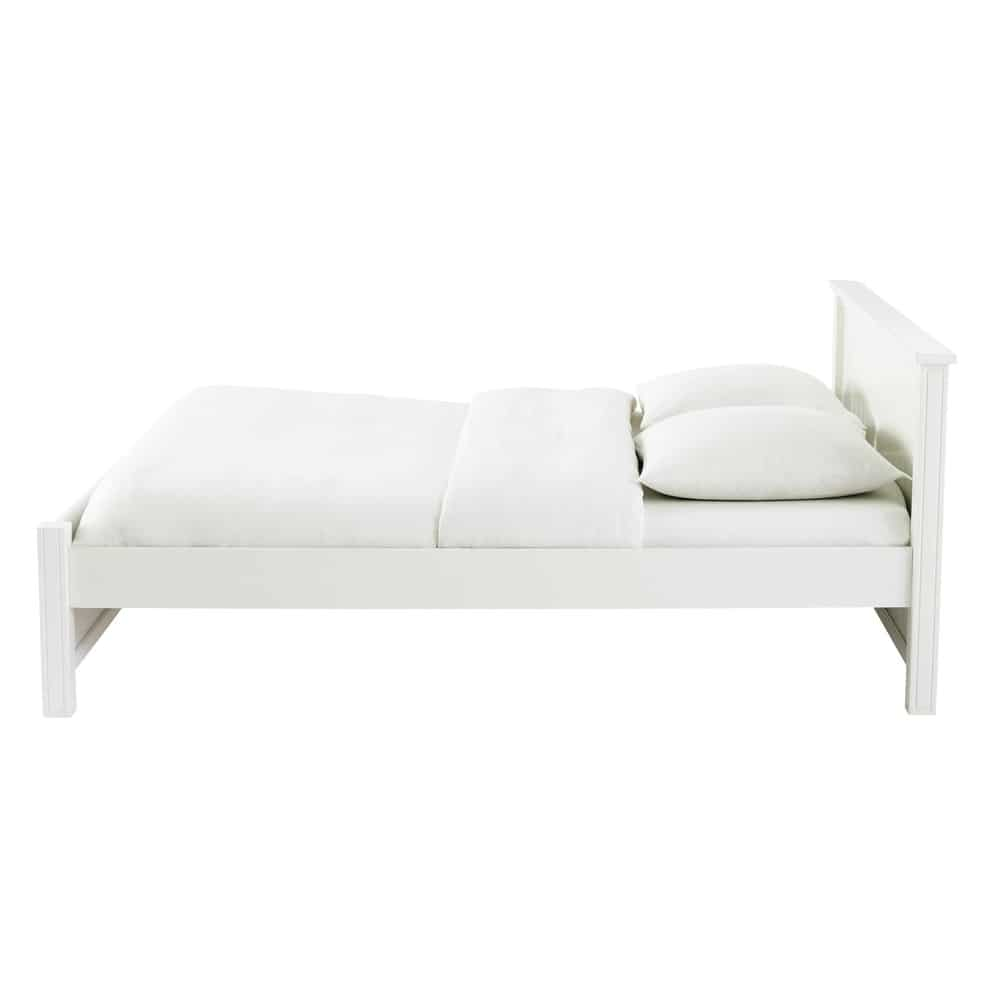 lit 140 x 190 cm en bois blanc princeton maisons du monde. Black Bedroom Furniture Sets. Home Design Ideas