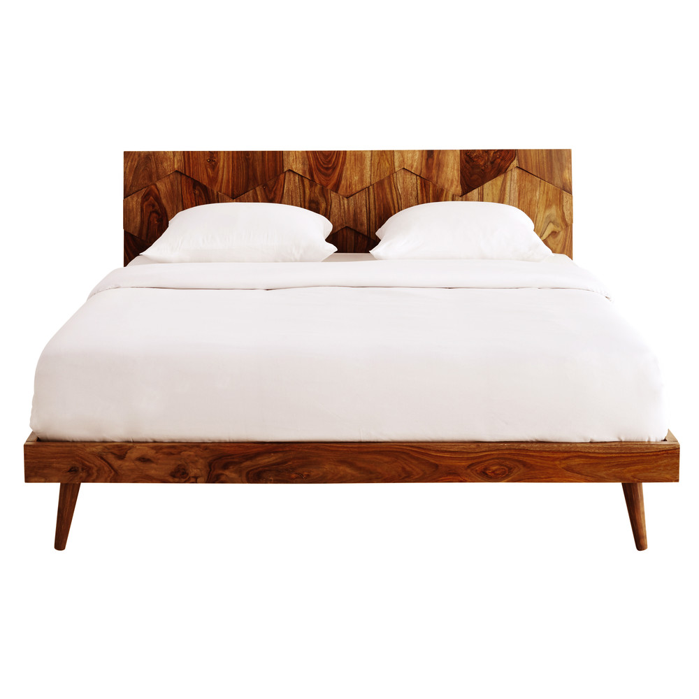 lit 160 x 200 cm en bois de sheesham massif quadra maisons du monde. Black Bedroom Furniture Sets. Home Design Ideas