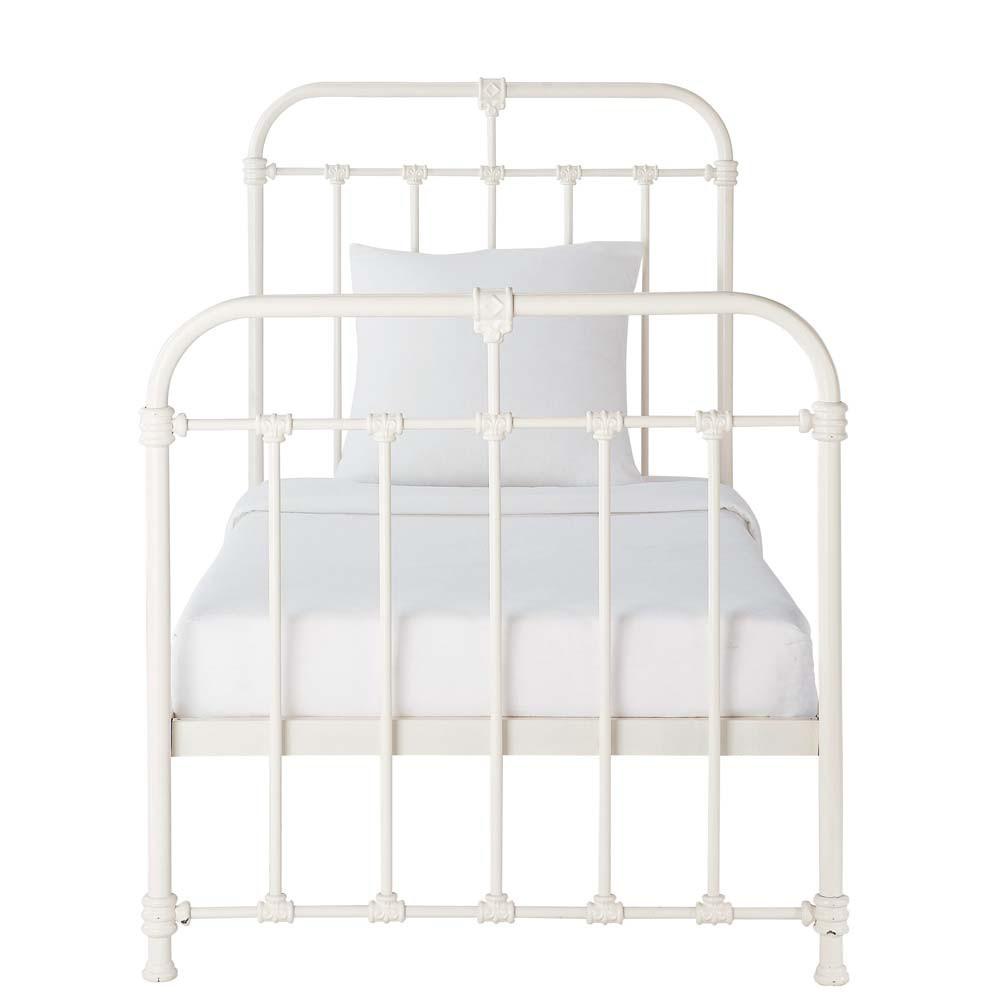 lit 90 x 190 cm en m tal blanc nicolas maisons du monde. Black Bedroom Furniture Sets. Home Design Ideas