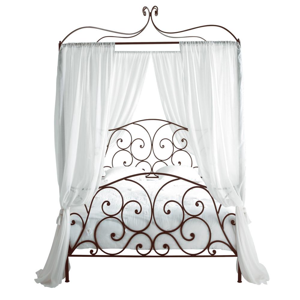 lit baldaquin 140 x 190 cm en m tal marron sheherazad maisons du monde. Black Bedroom Furniture Sets. Home Design Ideas