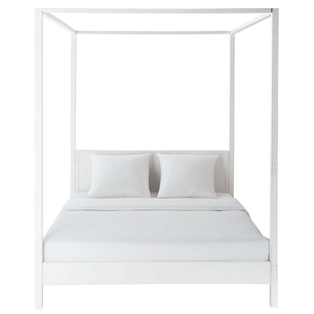 lit baldaquin 160 x 200 cm en bois blanc cass celeste maisons du monde. Black Bedroom Furniture Sets. Home Design Ideas