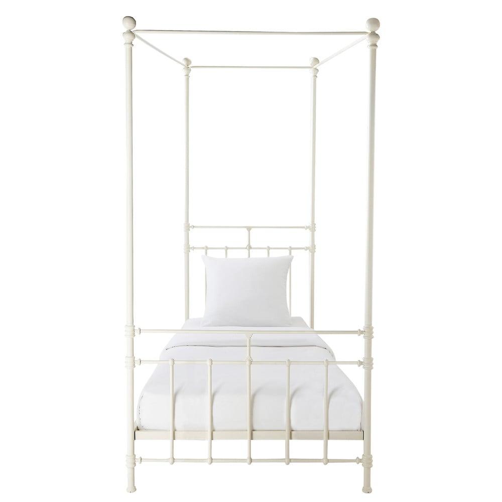 lit baldaquin 90 x 190 cm en m tal blanc syracuse maisons du monde. Black Bedroom Furniture Sets. Home Design Ideas