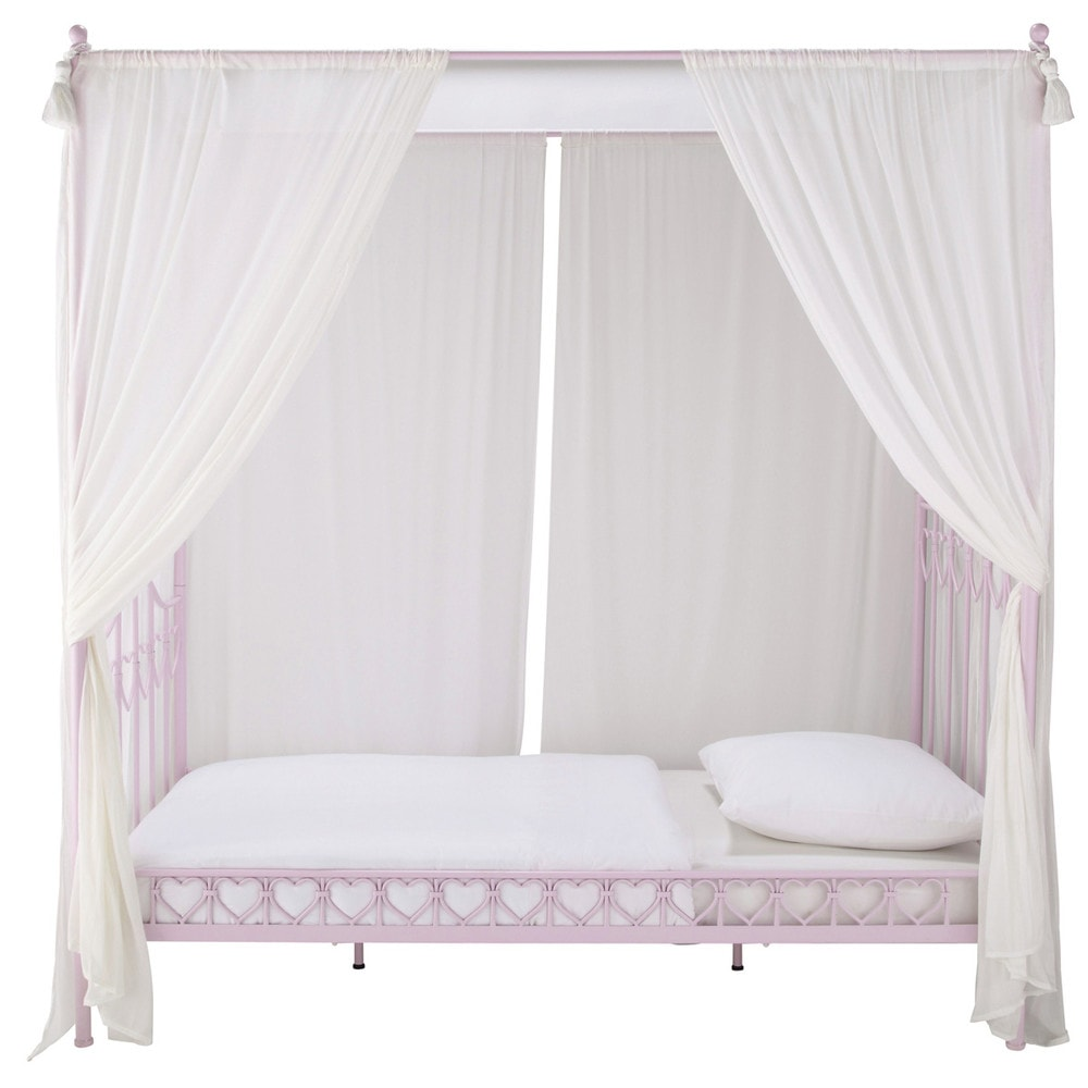 lit baldaquin enfant 90 x 190 cm en m tal rose eglantine maisons du monde. Black Bedroom Furniture Sets. Home Design Ideas