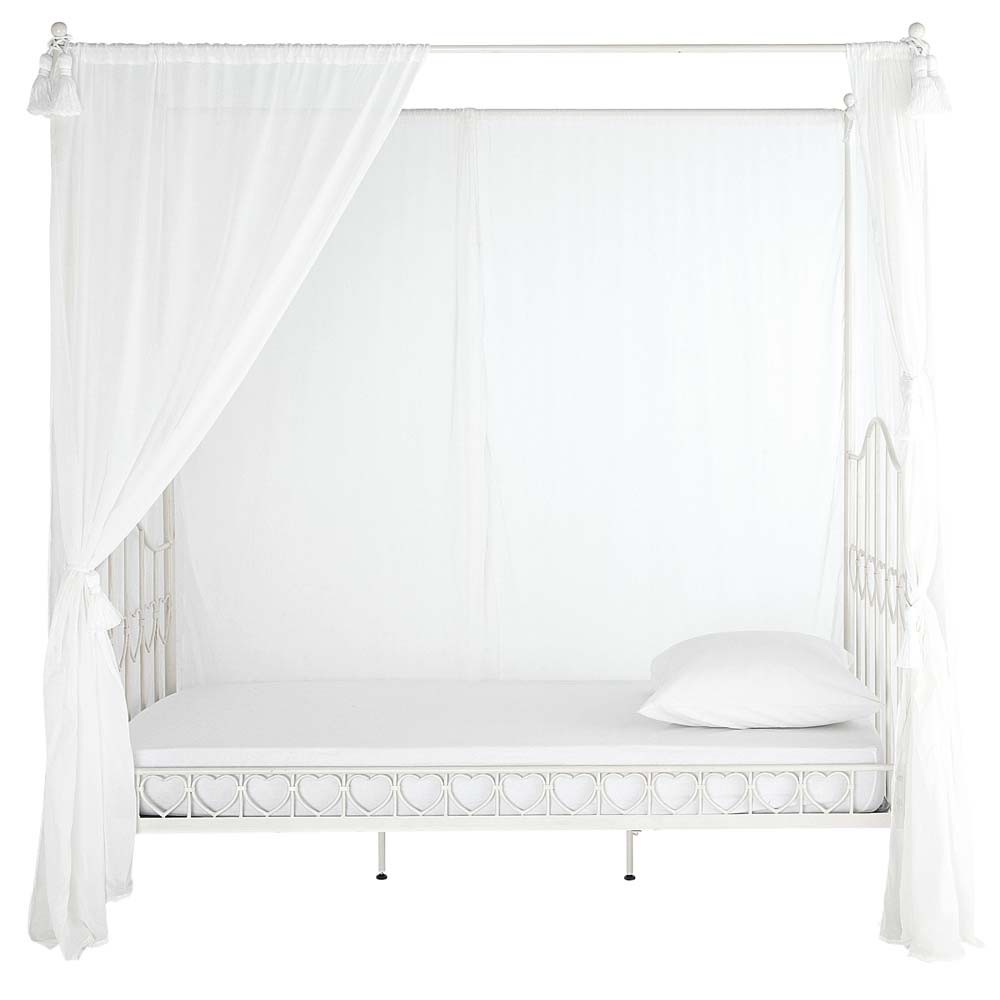 lit baldaquin enfant 90x190 en m tal ivoire eglantine maisons du monde. Black Bedroom Furniture Sets. Home Design Ideas