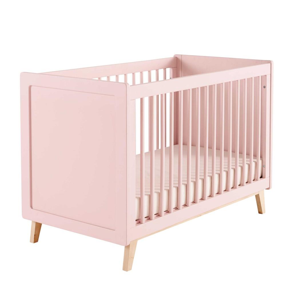 lit b b barreaux en bois rose l 126 cm sweet maisons. Black Bedroom Furniture Sets. Home Design Ideas