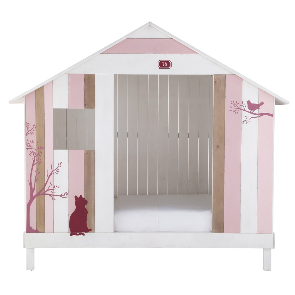 lit cabane enfant 90 x 190 cm en bois rose et blanc. Black Bedroom Furniture Sets. Home Design Ideas