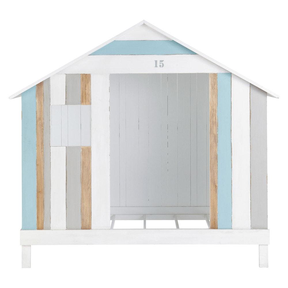 lit cabane enfant 90x190 en bois blanc et bleu oc an maisons du monde. Black Bedroom Furniture Sets. Home Design Ideas