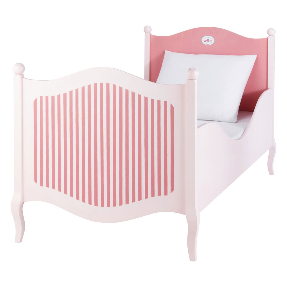 lit enfant 90 x 190 cm en bois rose et blanc gourmandise maisons du monde. Black Bedroom Furniture Sets. Home Design Ideas