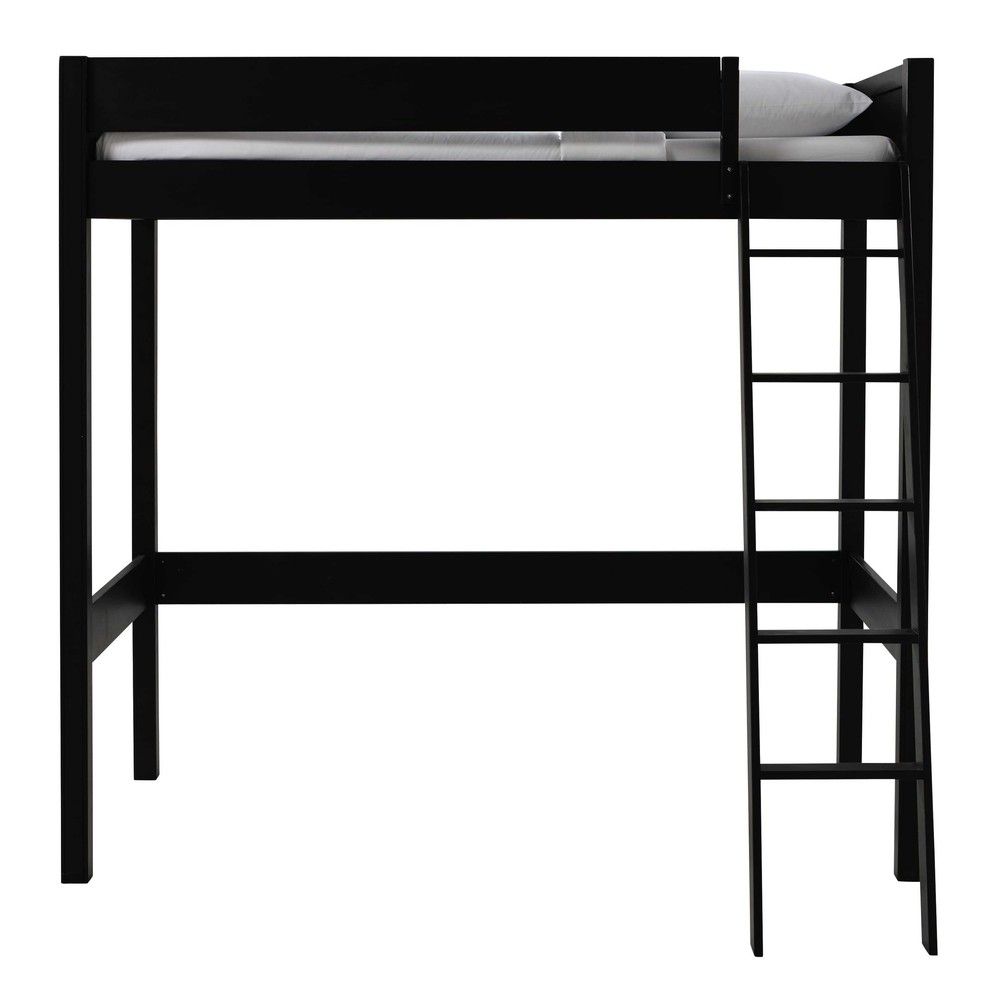 lit mezzanine 90 x 190 cm en bois noir newport maisons du monde. Black Bedroom Furniture Sets. Home Design Ideas