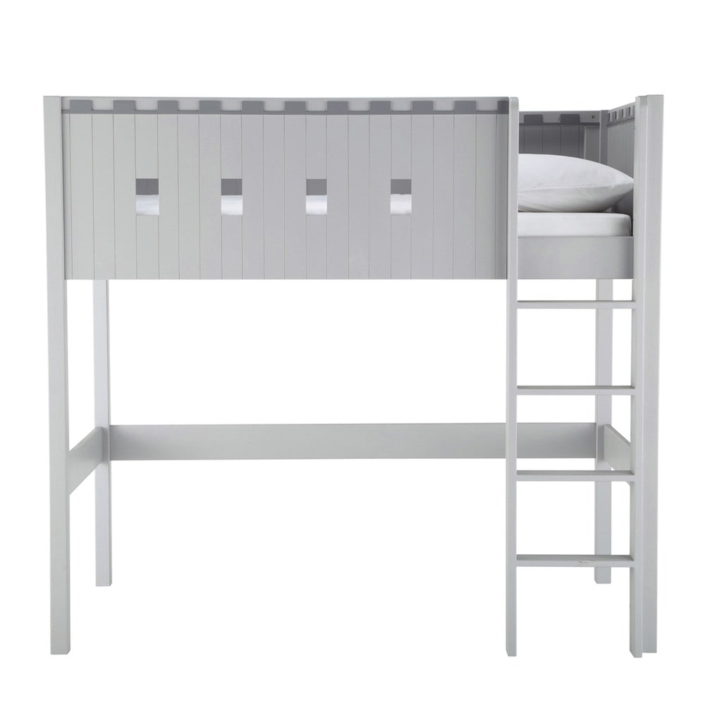 lit mezzanine enfant gris chevalier maisons du monde. Black Bedroom Furniture Sets. Home Design Ideas