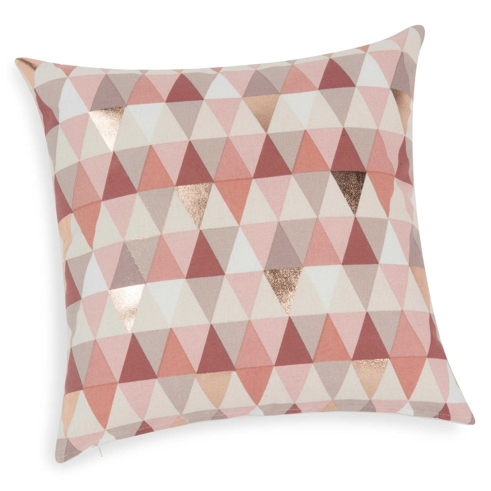 Lucille cushion cover with pink triangle motif 40 x 40 cm - Housse coussin maison du monde ...