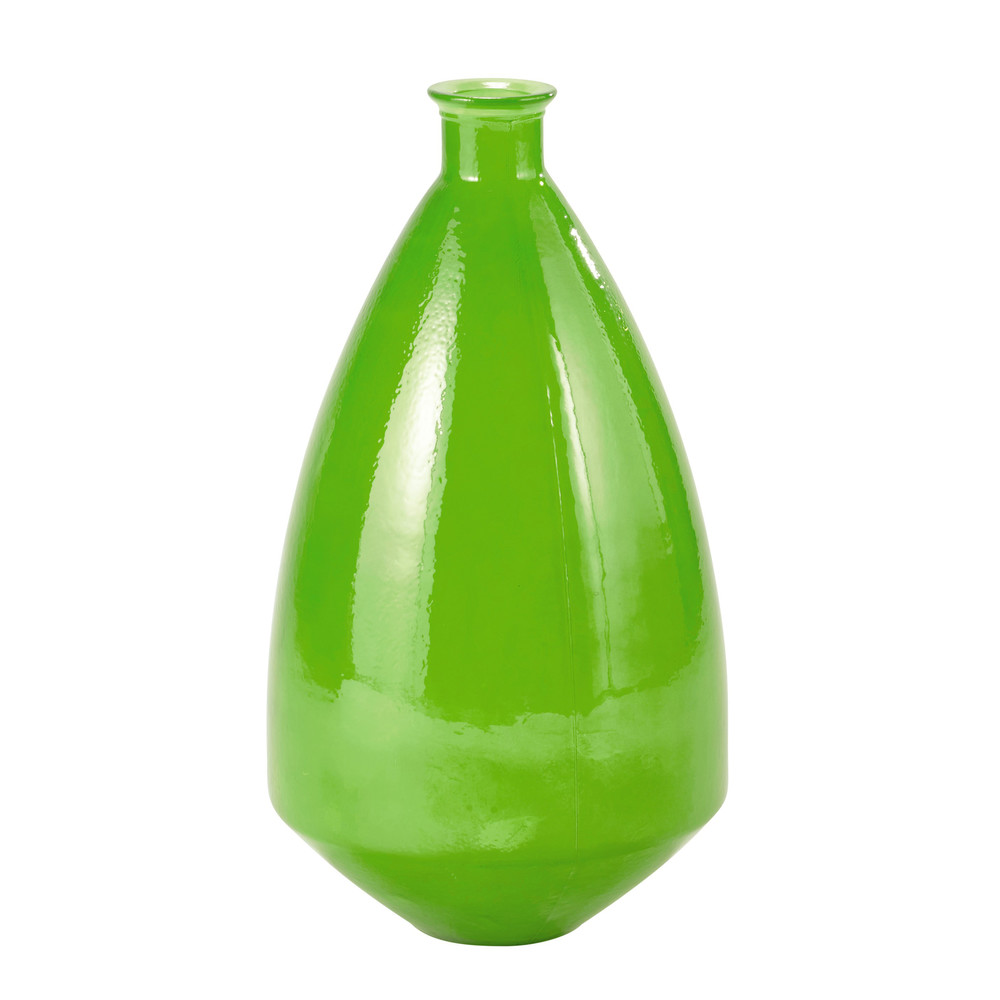 luis glass vase in green h 60cm maisons du monde. Black Bedroom Furniture Sets. Home Design Ideas