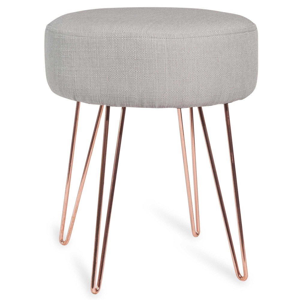 LULEA Copper-Coloured Metal and Grey Fabric Stool ...
