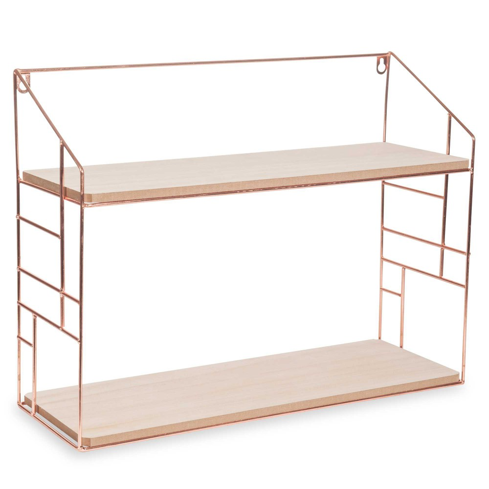 lulea copper metal wall shelf 38x50cm maisons du monde. Black Bedroom Furniture Sets. Home Design Ideas