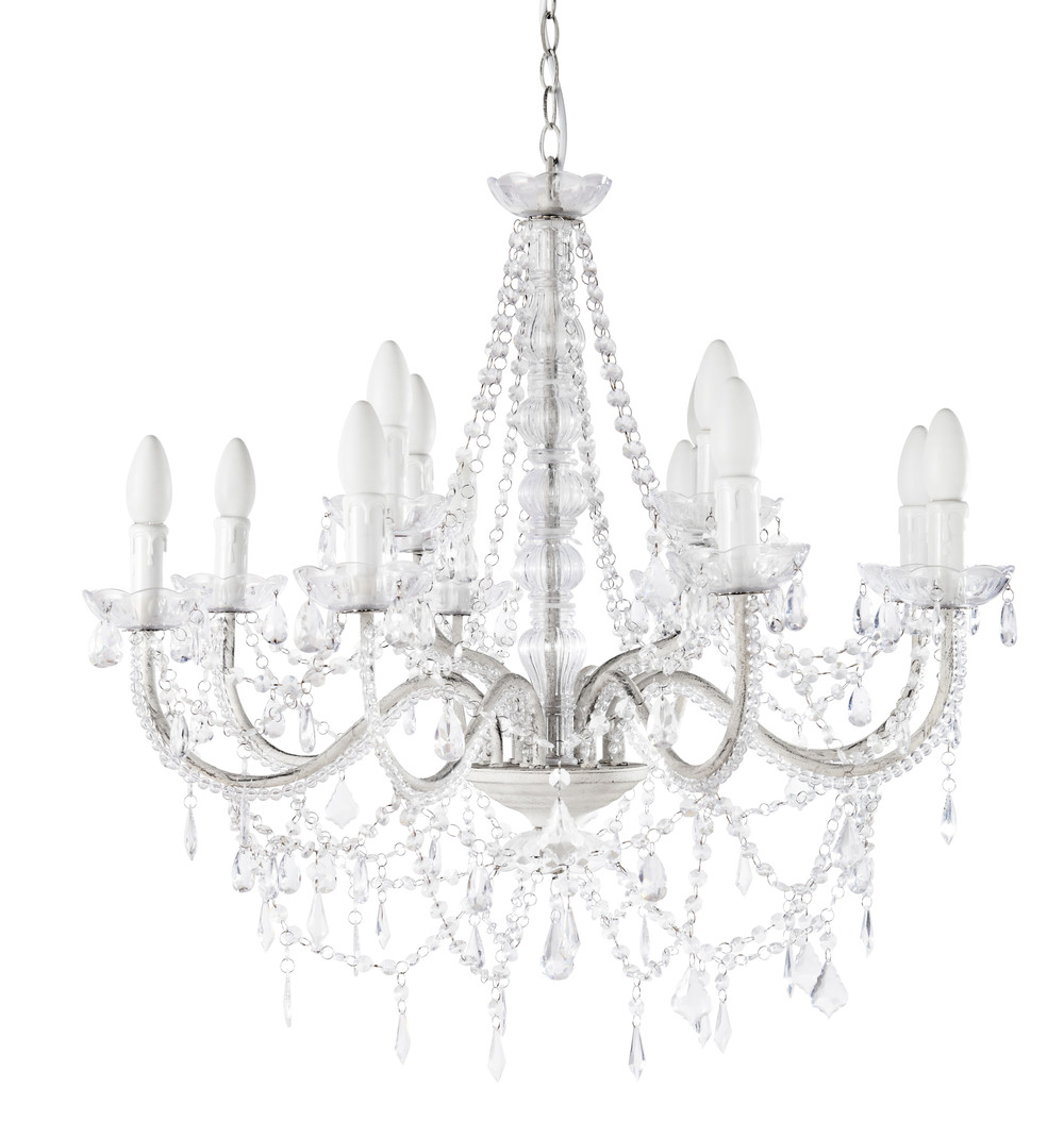 Lustre pampilles 12 branches en m tal blanc d 73 cm for Maison du monde lampadario