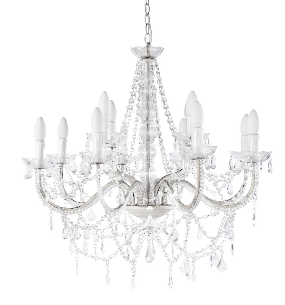 lustre pampilles 12 branches en m tal blanc d 73 cm. Black Bedroom Furniture Sets. Home Design Ideas
