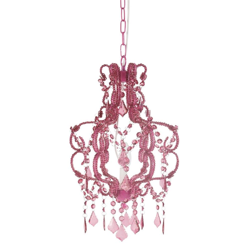lustre pampilles fuchsia h 41 cm princesse maisons du. Black Bedroom Furniture Sets. Home Design Ideas