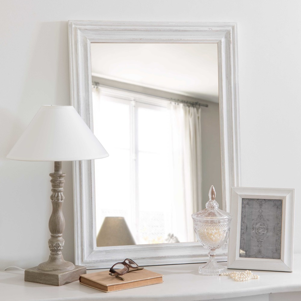 lyna distressed white paulownia mirror 50 x 70 cm