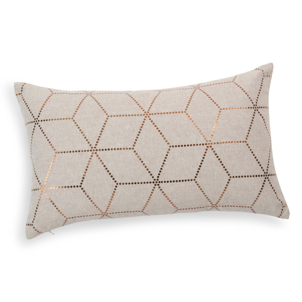 Madden cotton cushion in beige gold 30 x 50cm maisons for Maison de monde uk