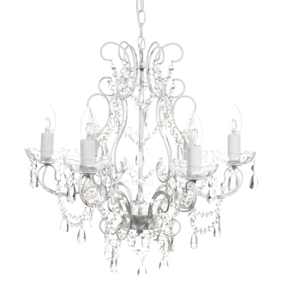 majesty metal 6 branch chandelier in white d 48cm maisons du monde. Black Bedroom Furniture Sets. Home Design Ideas