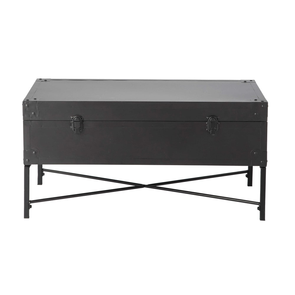 malle en m tal noire l 72 cm eugene maisons du monde. Black Bedroom Furniture Sets. Home Design Ideas